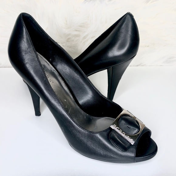 BCBGirls Shoes - BCBG | Black peep toe buckle heel